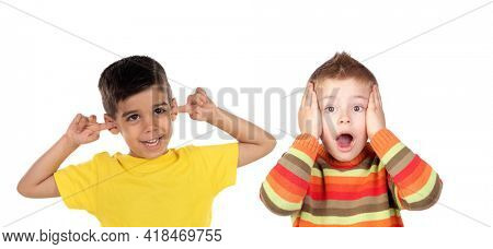 Two funny children isolated on a white background