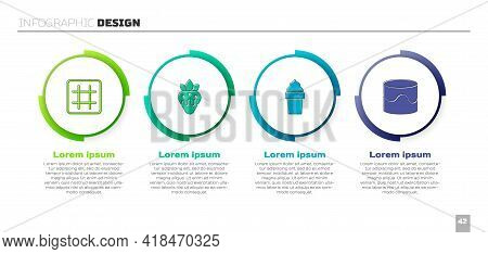 Set Waffle, Strawberry In Chocolate, Ice Cream Waffle Cone And Cake. Business Infographic Template.