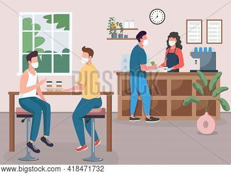 Coffee Shop During Pandemic Flat Color Vector Illustration. Friends Drink Tea. Espresso Bar. Custome