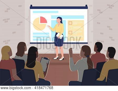 Business Conference Flat Color Vector Illustration. Marketing Training. Coach Near Projector Screen.