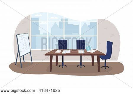 Office Meeting Room 2d Vector Web Banner, Poster. Business Seminar. Marketing Planning. Conference F