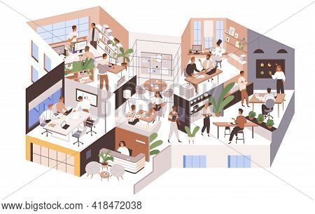 Office Rooms And Departments With Modern Interior. People At Work Areas And Corporate Spaces Of Big