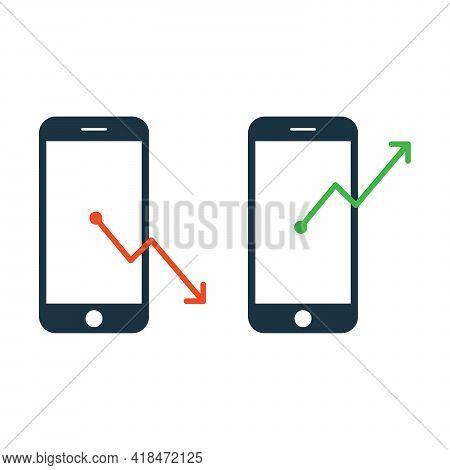 Flat Vector Icon Illustration Of Marketing. Online Marketing Research And Online Marketing Report Ic