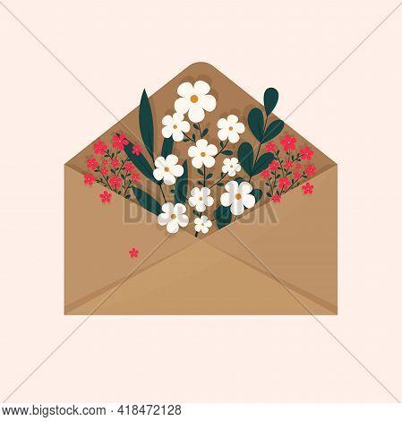 A Bouquet Of Flowers Inside The Envelope On A Light Background. Flat Illustration Design. Illustrati