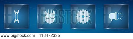 Set Wrench Spanner, Bicycle Helmet, Sprocket Crank And Head Lamp. Square Glass Panels. Vector