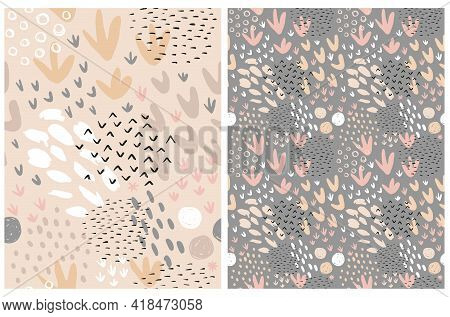 Cute Simple Abstract Print. Geometric Seamless Vector Patterns Ideal For Fabric, Textile. Hand Drawn
