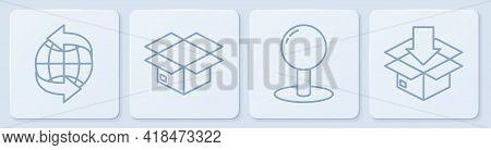 Set Line Worldwide, Push Pin, Carton Cardboard Box And Cardboard Box With Traffic Symbol. White Squa