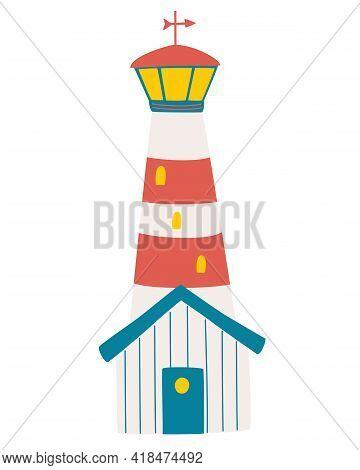 Cartoon Lighthouse. Nautical Lighthouse Sea Navigation Beacon Isolated Navy Guidance Equipment. Nurs