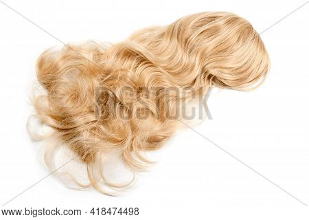 Female Blonde Wig Isolated On White. Golden Human Hair Weaves, Extensions And Wigs. Woman Beauty Con