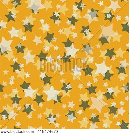 Vector Ditsy Stars Seamless Pattern On Yellow Beckground