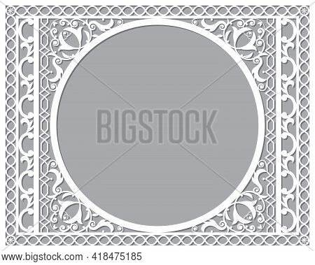 Moroccan Vector Openwork Recatangle Frame Or Border Design In Dl Format, Inspired By The Old Carved