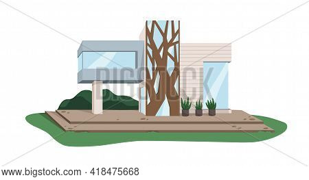 Contemporary Architecture Of Villa Building From Glass And Wood. Modern House Design. Suburban Real
