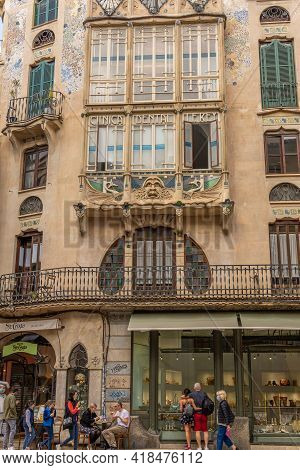 Palma De Mallorca, Spain; April 23 2021: Main Facade Of Ca'n Forteza-rey. Modernist Building In The