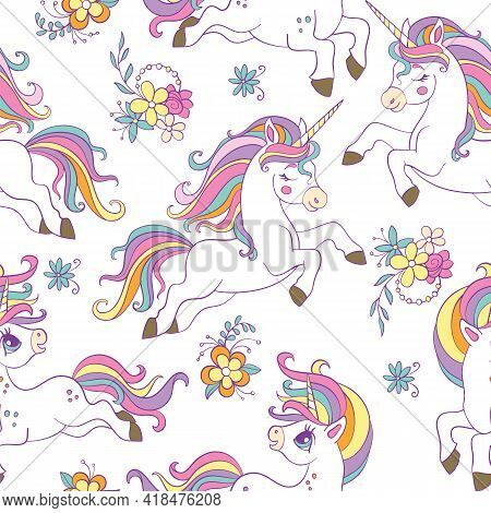 Seamless Pattern With Beauty Unicorns And Flowers On White Background. Vector Illustration For Party