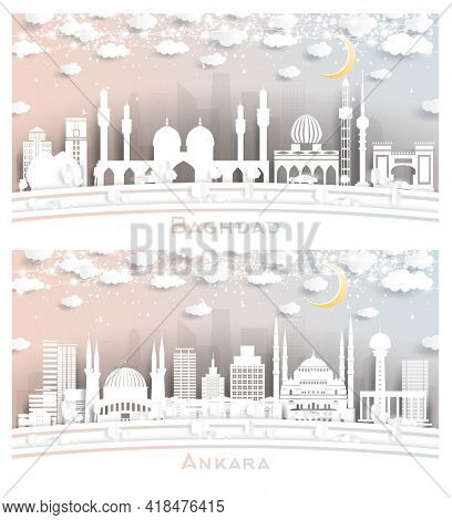 Ankara Turkey and Baghdad Iraq City Skyline Set in Paper Cut Style with Snowflakes, Moon and Neon Garland. New Year Concept. Cityscape with Landmarks.