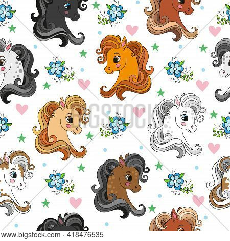 Seamless Pattern With Pretty Pony Heads And Flowers On White Background. Vector Illustration For Par