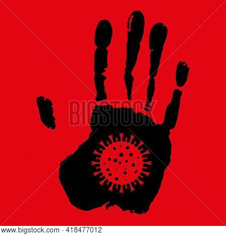 Stop The Crown Virus. Hand Concept With Virus Symbol. Stop Sign And Symbol Covid-19. Isolated On Whi