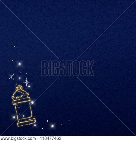 Blue background with doodle minaret icon