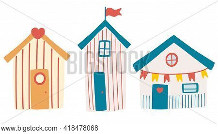 Set Of Beach Houses. Summer Card With Beach Huts. Beach Bungalow Hotel With Different Exterior. Attr