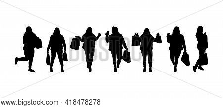 Set Of Silhouettes Of Shopping Woman With Bags. Black Color. Variuos Poses. Thick Figure. Vector Ill
