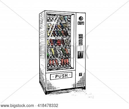 Vending Machine With Beverage Bottles And Cans Hand Drawn Sketch. Automatic Colored Snack And Drink