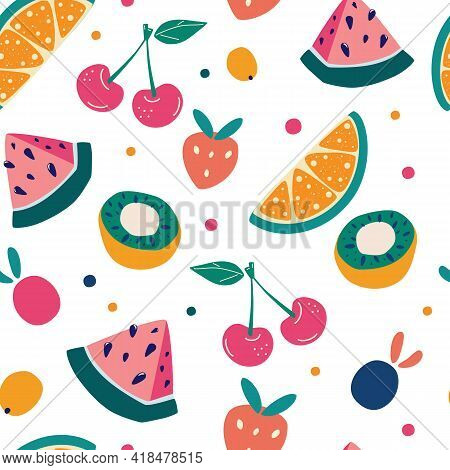 Bright Fruit Seamless Pattern In Hand-drawn Style. Vector Repeat Background For Colorful Summer Fabr