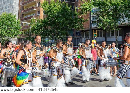 Barcelona - Spain. June 29, 2020: A Group Of Young Parade Participants With Drums And Mayan Costumes