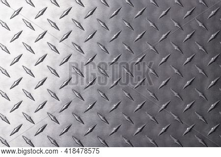 Diamond Metal Texture. Reflective Steel Plate As Background. Silver Metal Texture