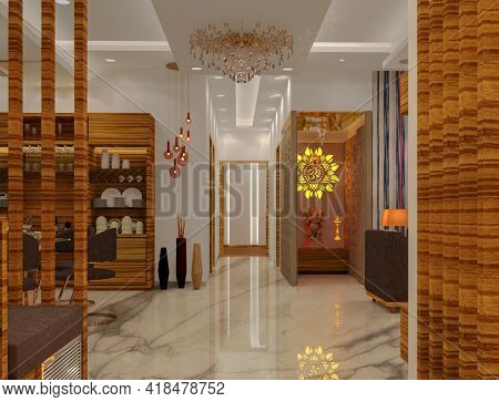 3d Rendered Contemporary Style Living Room With Temple And White Color Finish False Ceiling With Cov