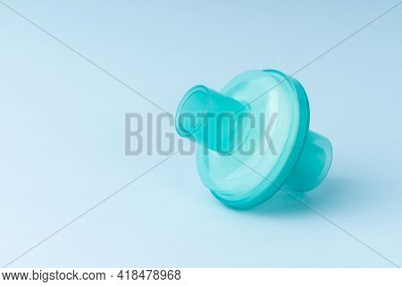 Medical Anesthesia Breathing Antibacterial Viral, Respiratory Ventilator Or Air Filter On Blue Backg