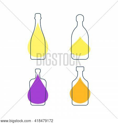 Modern Abstract Illustration With Bottles Champagne Tequila Liquor Rum And Color Blobs. Linear Outli