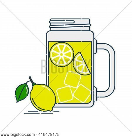 Jug Lemonade With Chunks Of Citrus And Ice. Nearby A Whole Fruit With A Leaf. Line Art In Flat Style