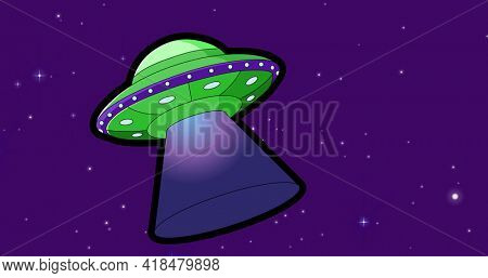 Composition of green and purple spaceship over stars on dark purple background. universe, galaxy and space travel concept digitally generated image.