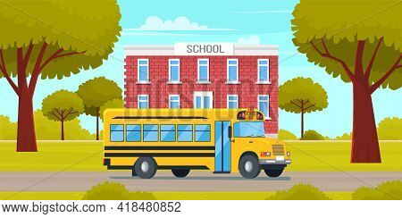 School Bus Yellow Vehicle Stands In Parking Near Building. Special Automobile For Transporting Child
