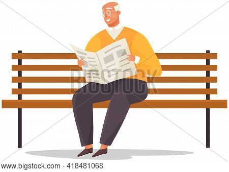 Elderly Man Sitting On Bench In Park Reading Newspaper And Enjoying Leisure In Retirement. Grandfath
