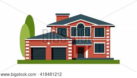 House Facade With Garage. Residential Low-rise Building. Country Apartments. Element Decoration For