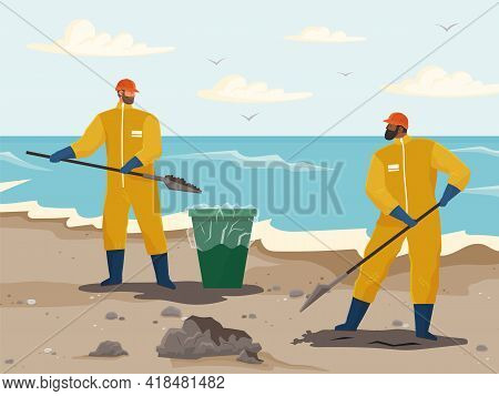 Volunteer People Are Cleaning Beach. People In Protective Suits Collecting Oil In Special Bucket. Me