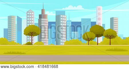 City Park On High-rise Buildings Background. Landscape With Trees, Bushes, Green Grass, Walkway And