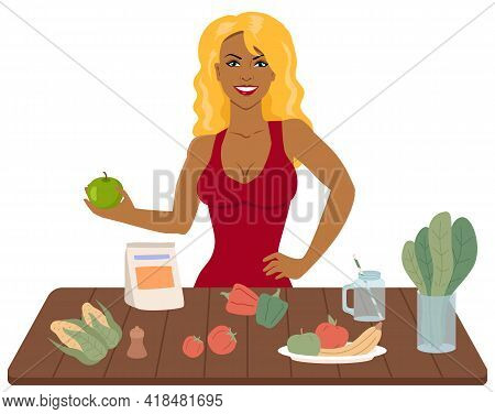 Organic Food, Diet, Natural Fresh Products. Slender Girl Holding Apple In Her Hands. Blonde Woman Pr