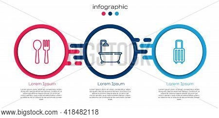 Set Line Fork And Spoon, Bathtub With Shower And Suitcase. Business Infographic Template. Vector