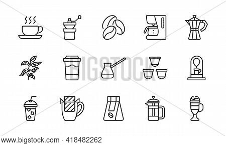 Coffee Equipment Line Icon Set. Coffee To Go, Mill, Drip Pack, Cezve, Pot, Beans, Capsules And Tree.