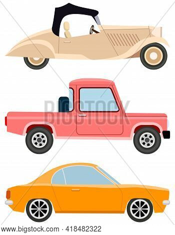Set Of Modes Of Transport And Machine Shapes. Transport Isolated On White Background. Crossover, Hat