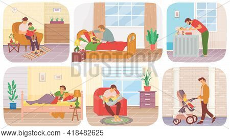 Man On Maternity Leave With Child Scenes Set. Dad Teaches And Tells Story, Walks, Washes, Takes Care