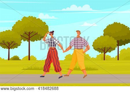 Couple In Relationship Walking In City Park. Young Guy And Girl Holding Hands Walking In Garden, Rom