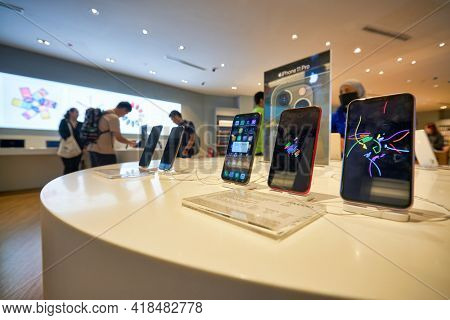 KUALA LUMPUR, MALAYSIA - CIRCA JANUARY, 2020: iPhone 11 smartphones on display at Machines Suria KLCC store in Kuala Lumpur. Machines is the largest Apple Premium Reseller in Malaysia.