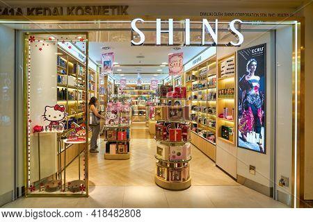 KUALA LUMPUR, MALAYSIA - CIRCA JANUARY, 2020: Shins storefront in Suria KLCC shopping mall in Kuala Lumpur.