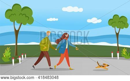 Couple In Relationship Walking In Forest With Their Pet. Young Guy And Girl Holding Hands Walking In