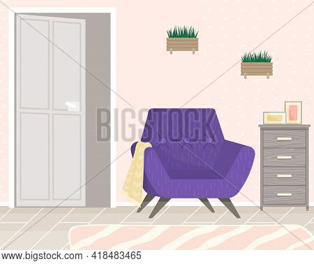 Modern Room For Interior Design. Cozy Room With Furniture And Decor Accessories. Flat Design Interio