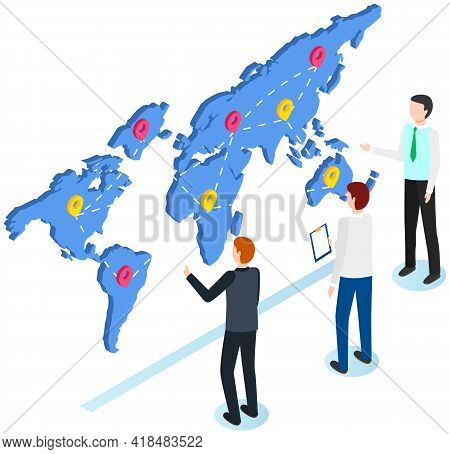 International Postal Mail Delivery Service Isometric Composition. People Studying Destination Map Wi