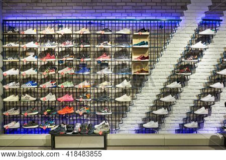 KUALA LUMPUR, MALAYSIA - CIRCA JANUARY, 2020: interior shot of Adidas store in Suria KLCC shopping mall in Kuala Lumpur.